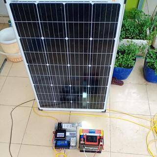 Pin Năng Lượng Mặt Trời mono 100w kèm máy phát điện 220v 500w ráp sẵn