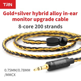 TRN Earphones T1 Gold Silver Mixed plated Upgrade cable 8 Core Headphone wire for V90 V80 V60 V30 V20 V10 C10 ZST T2 S2 BQ3 NO.3