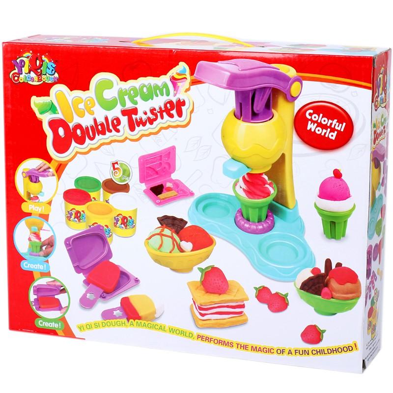 Bộ đồ chơi đất nặn có máy làm kem cho bé