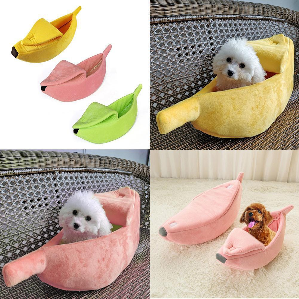 Cute Banana Shape Pets Bed Dog Mat JK Home&Living Ready House Warm Cozy Cat Nest Basket Kennel