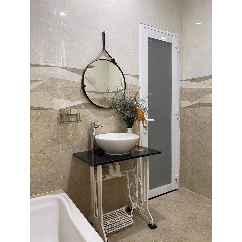 Gương Treo Tường ✨SALEHOT✨ Gương Nhà Tắm Dây Da Simili Cao Cấp - Gương Phòng Ngủ Đường Kính 40-50cm