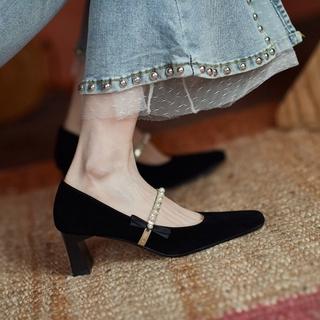Giày Cao Gót Mũi Vuông Đính Nơ Ngọc Trai Phong Cách Retro Pháp