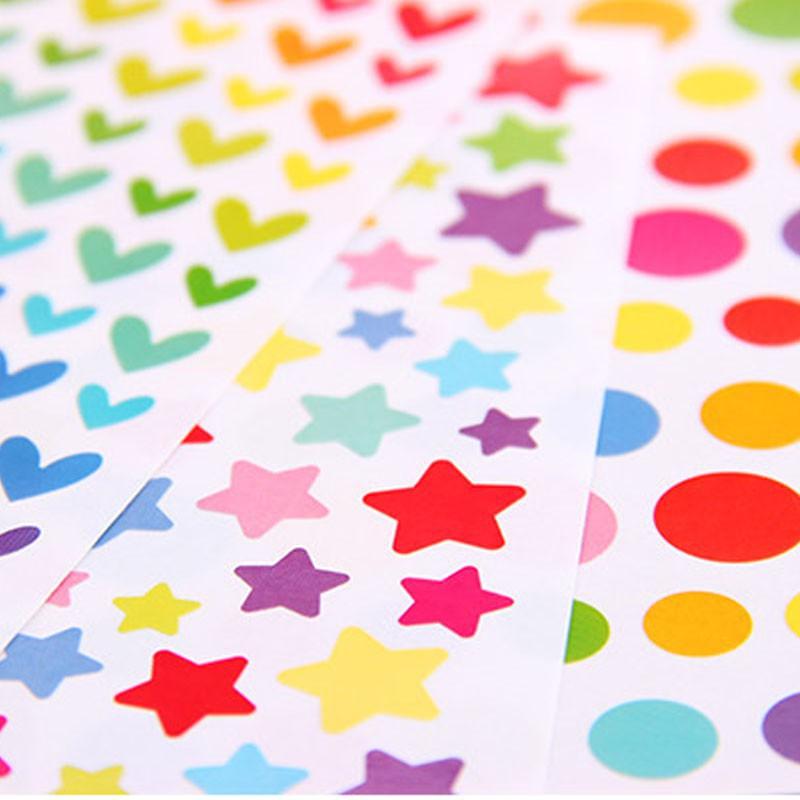 6 tấm decal hình trái tim & ngôi sao & hình tròn trang trí sổ