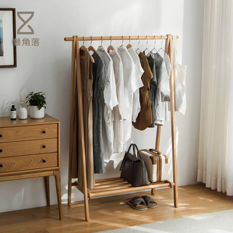 Lazy corners Solid wood hanger floor coat rack bedroom wooden multi-function household hanger rack 66000