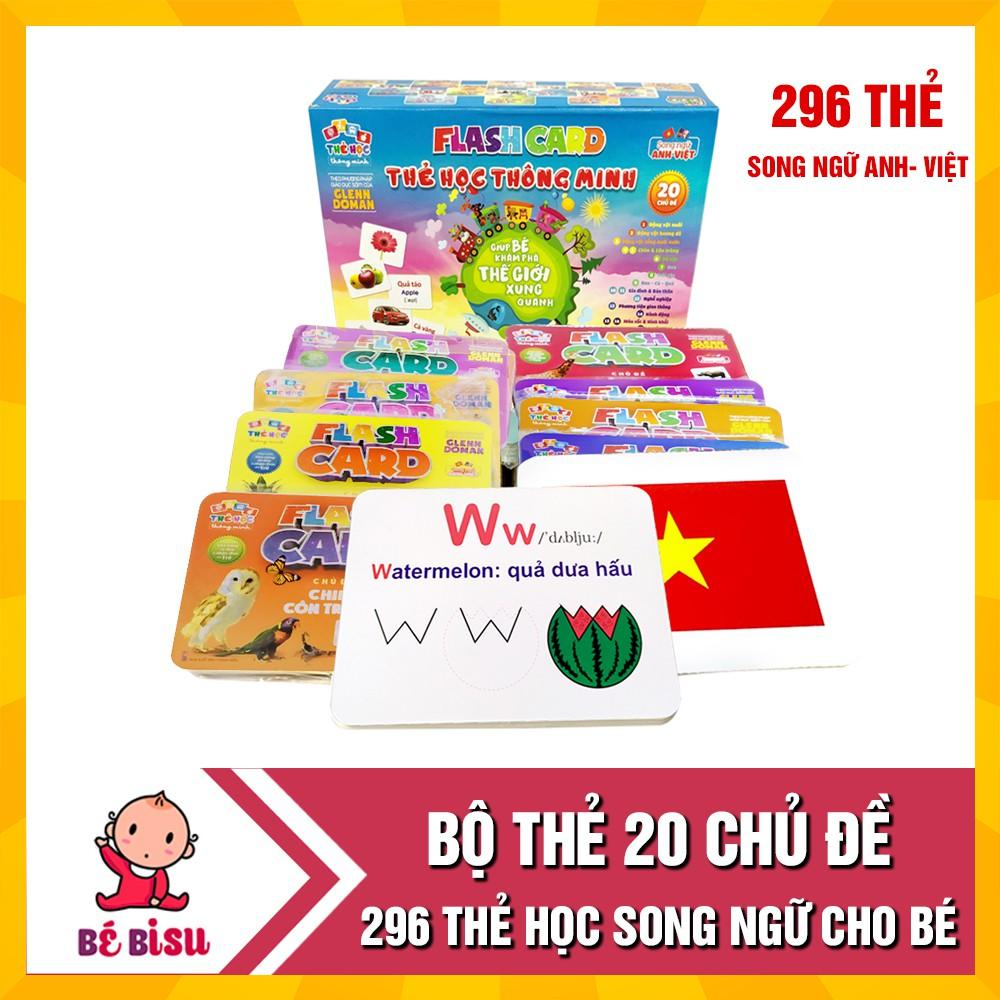 Bộ thẻ học 20 chủ đề song ngữ Anh – Việt loại To (296 thẻ học) giúp bé nhận biết
