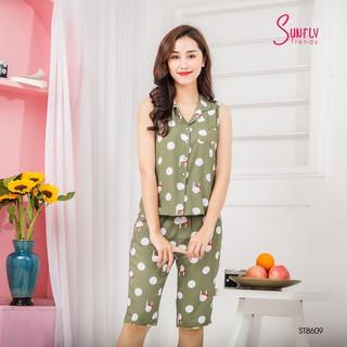 Bộ Pijamas lanh Sunfly áo sát nách quần ngố ST8609 thumbnail