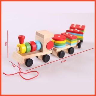 Bộ đồ chơi Đoàn tàu hỏa thả hình giúp các bé phân biệt được các khối hình học bằng gỗ an toàn