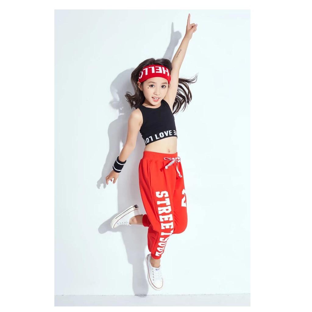 Trang phục nhảy hiện đại trẻ em-Set quần 23 Zumba phối áo crop sát nách  ZB05 | Shopee Việt Nam