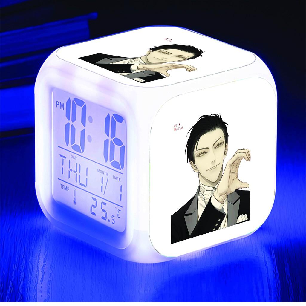 Đồng hồ báo thức để bàn in hình 19 DAYS anime chibi LED đổi màu xinh xắn tiện lợi