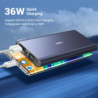 Hình ảnh TOPK I1006 Sạc Dự Phòng Cho iPhone Huawei Samsung Xiaomi Oppo Vivo Realme Hai Cổng Dung Lượng 10000mAh Có Màn Hình Điện Tử-1