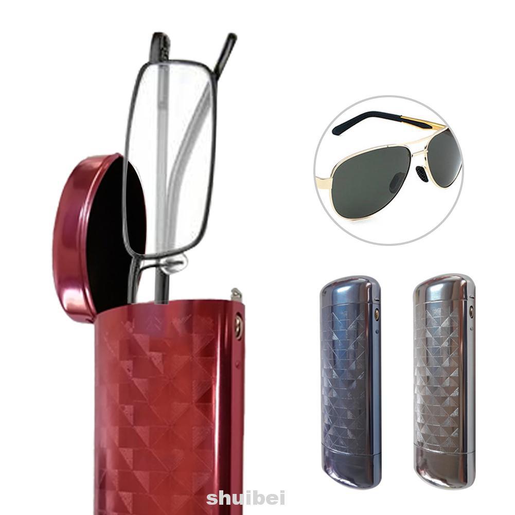 Aluminum Flip Lid Lattice Patterns Micro Engraved Push Button Glasses Case