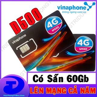 Sim 4G Vinaphone D500 Có Sẵn 60Gb (5Gb/Tháng) Lên Mạng Miễn Phí Cả Năm Không Giới Hạn Dung Lượng- Không Cần Nạp Tiền