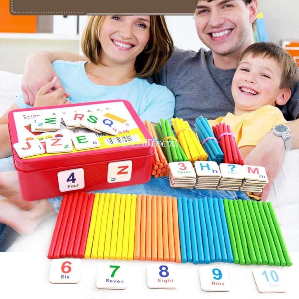 ❤COD Children Wooden Counting Sticks Math Learning Developmental Arithmetic Toy