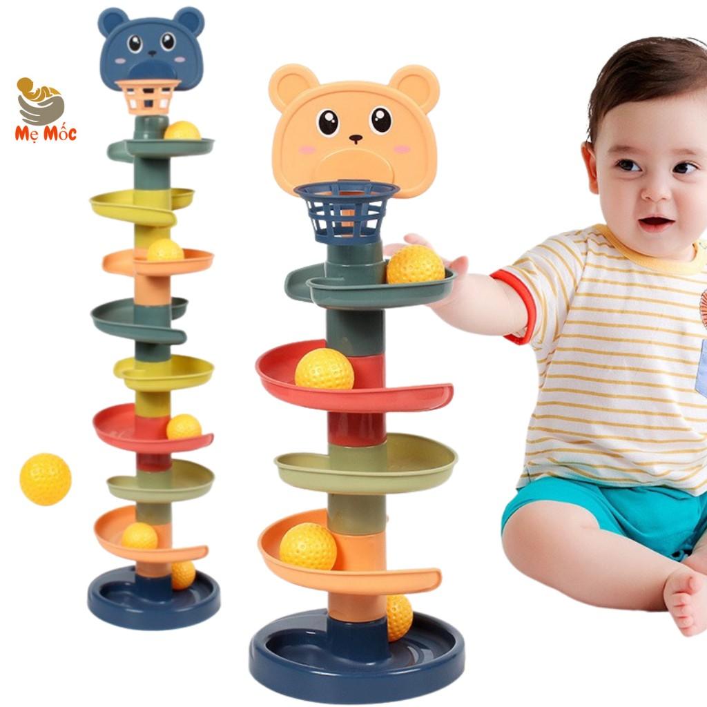 Cầu Trượt Cho Bé- Thả Bóng Xoay Tròn, Tháp Bóng Lăn Và Đồ Chơi Bóng Rổ, Trò chơi vận động cho bé yêu - Shop mẹ Mốc