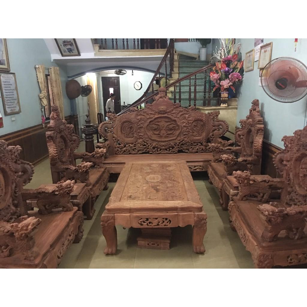 Bộ bàn ghế đồng kỵ nghê đỉnh gỗ hươ