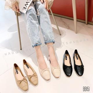 Bệt nữ HHS da mũi vá nơ dây Hà Huyền Shoes - BB151
