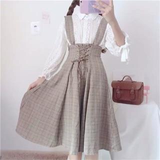 [có sẵn] Váy yếm eo cao thắt dây caro nâu kèm áo