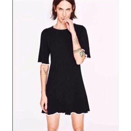 váy len chữ A tay A đen& kẻ -v271101