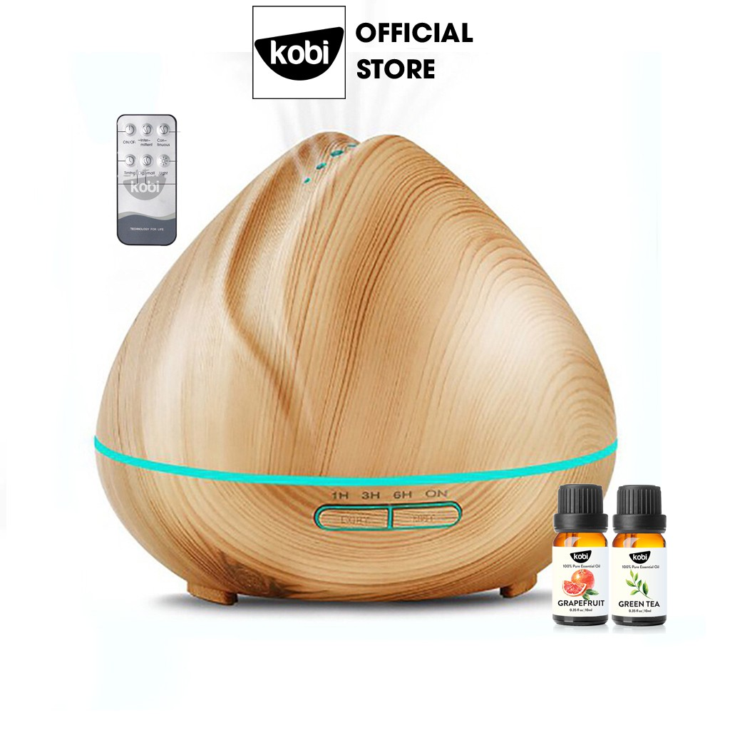 Máy xông tinh dầu siêu âm Búp Sen kèm 2 chai tinh dầu Kobi 10ml/chai