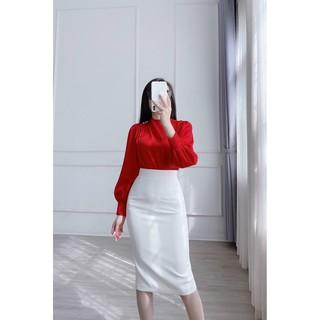Chân váy bút chì màu trắng xẻ sau dài 68cm hàng chuẩn hàng công sở cao cấp chất co giãn