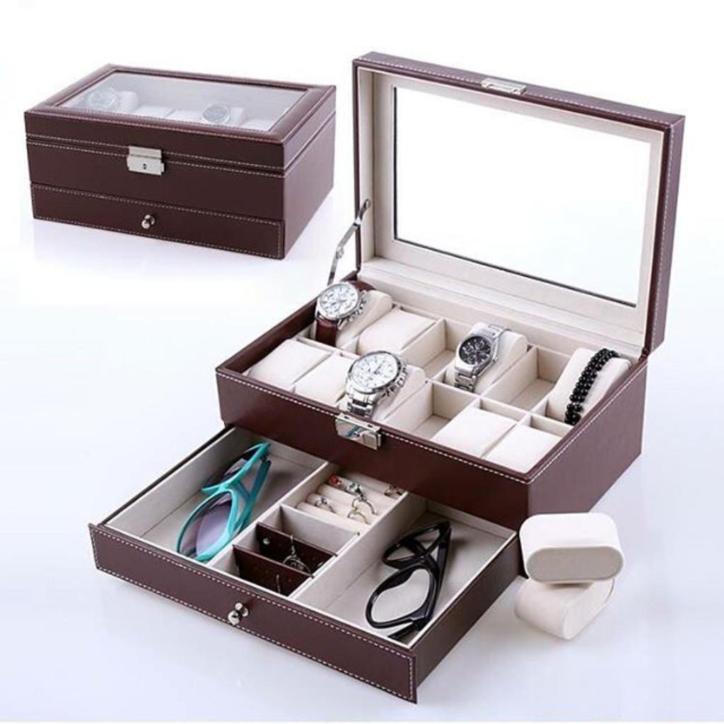 Hộp đựng 12 đồng hồ kèm 1 ngăn để trang sức - 2546414 , 32383631 , 322_32383631 , 550000 , Hop-dung-12-dong-ho-kem-1-ngan-de-trang-suc-322_32383631 , shopee.vn , Hộp đựng 12 đồng hồ kèm 1 ngăn để trang sức