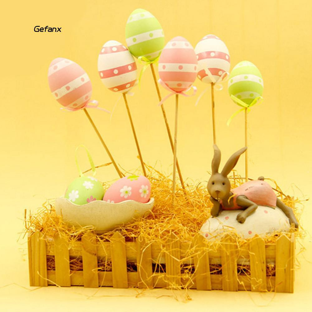 GEFX_9Pcs Colorful Plastic Simulation Easter Egg on Stick Gift DIY Craft Decoration
