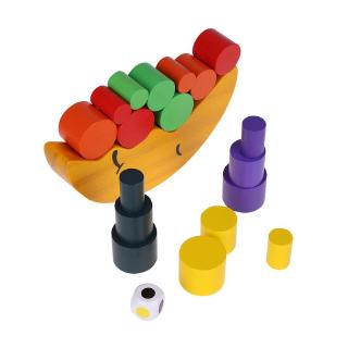 Wooden Baby Toys Set Moon Crescent Balance Stacking Blocks Children Kids Educational Gift