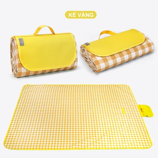 Thảm kẻ chống thấm dã ngoại Thảm dã ngoại chất liệu vải Oxford dày dặn, gấp gọn di động, kích thước (1.5m 1.5m Yellow) thumbnail