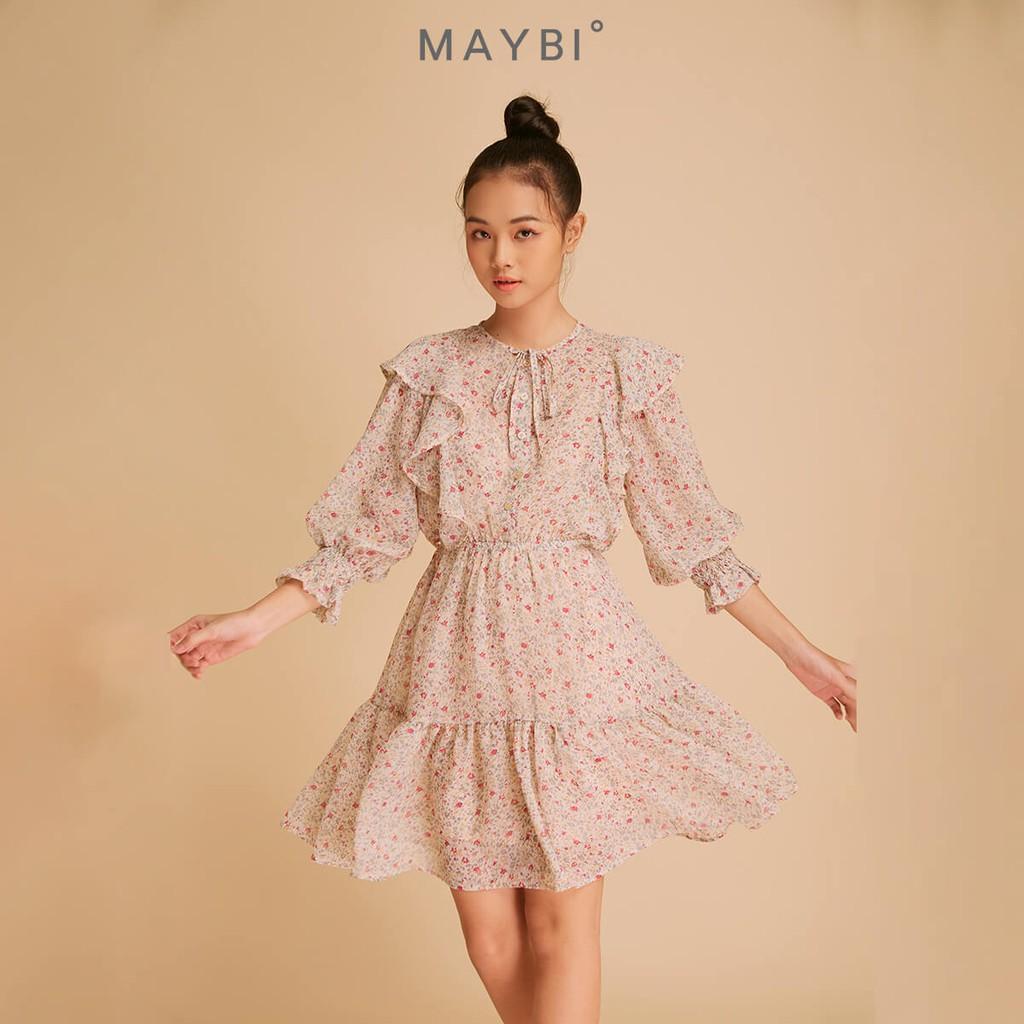 MAYBI - Đầm họa tiết hoa nhún thun tay Flounce Trimmid Dress