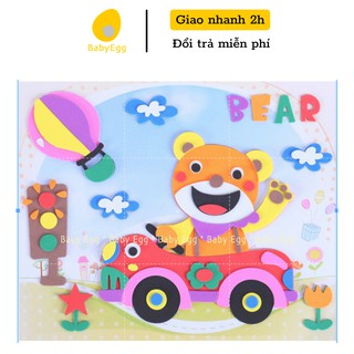 Bộ miếng dán xốp cắt sẵn rèn luyện độ khéo léo, đồ chơi trẻ em cho bé trai bé gái 3 4 5 6 7 8 9 tuổi kich thước 21x26 thumbnail