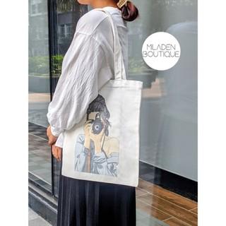 Fullbox Túi Tote Vải Canvas Girl Photo, Có khóa kéo, Lớp Lót, Ngăn nhỏ, Miladen. thumbnail