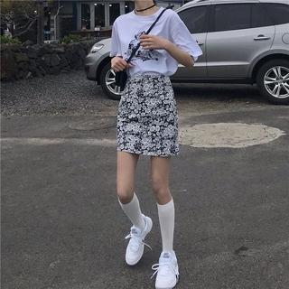 short New Korean style floral high waist all-match a-line skirt women's apparel clothing