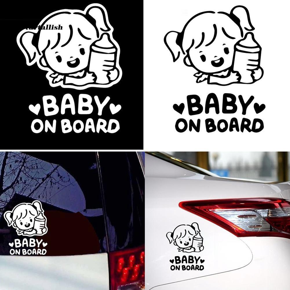 TUR♥Cartoon Baby On Board Little Girl with Feeding Bottle Car Window Sticker Decal