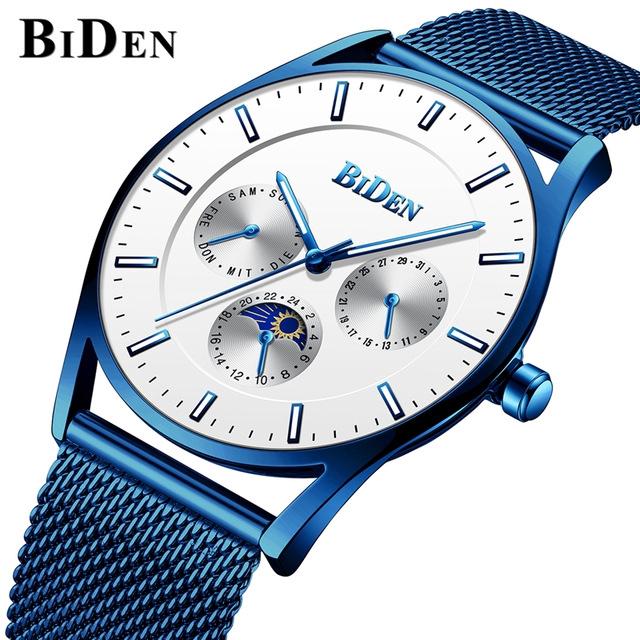 BIDEN Business Steel Mesh Network Waterproof Men's Quartz Analog Watch 0122