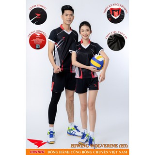 Bộ quần áo bóng chuyền nam nữ Hiwing 3 cao cấp màu đen
