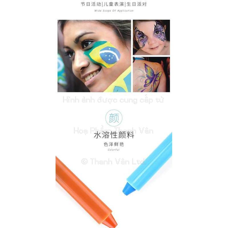 Màu Sáp và Dạ vẽ lên mặt Baoke Không Độc Hại Giá Rẻ [ 6 - 12 bút ] Face And Body Painting - Vẽ Cơ Thể Cho Bé CH06 MP2919