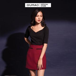 Chân váy nữ phối viền GUMAC màu đỏ đủ size, thiết kế basic thanh lịch, sang trọng CV12039 thumbnail