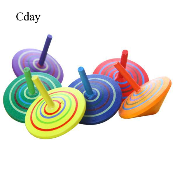 6x Handmade Painted Wooden Spinning Top Toy Children Educational Toys