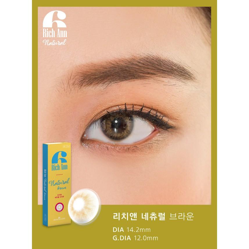 Kính Áp Tròng Cận Thị 1 Ngày Màu Nâu Rich Ann Natural Brown, Lens Mắt Đẹp Hàn Quốc Cho Mắt...