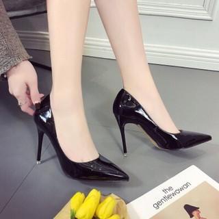 Giày cao gót da bóng gót đũa 2 màu đen, kem hồng - 7P