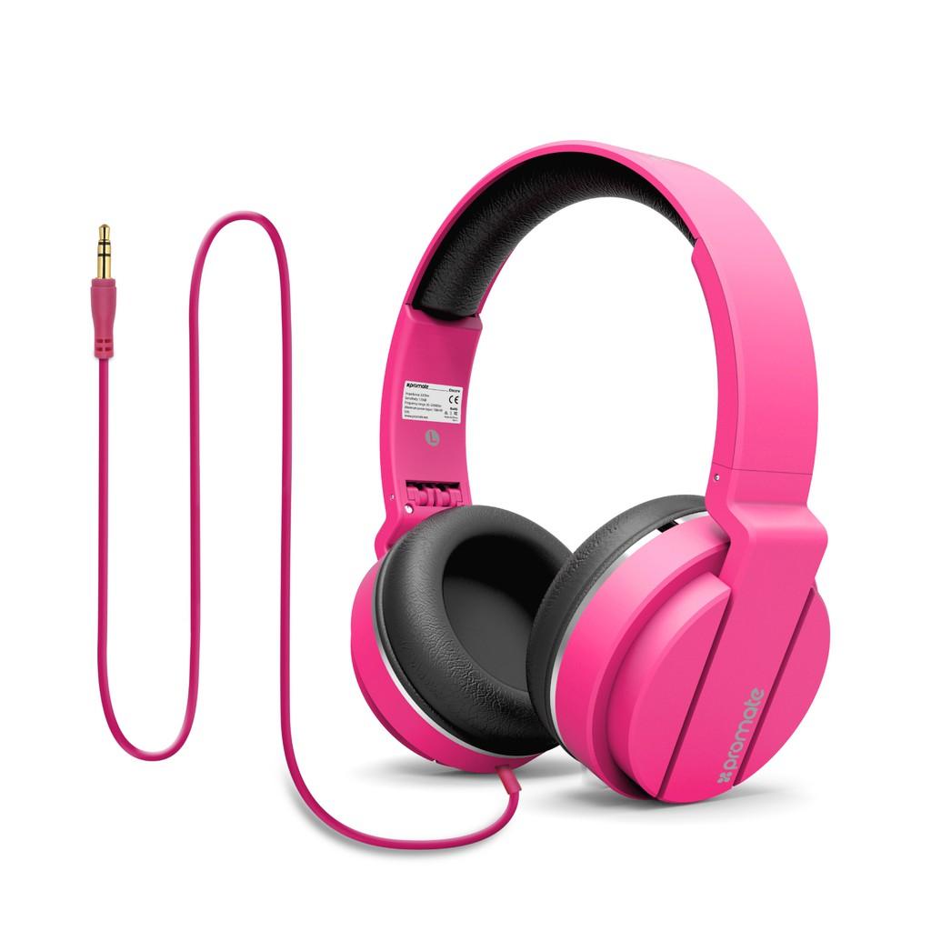 Tai nghe On-Ear Promate Encore dây 150cm (Hồng)