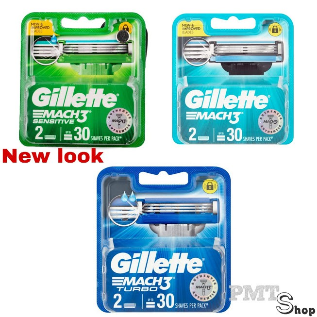 Hộp Lưỡi Dao Cạo Râu Gillette Mach3 Vỉ 2 Cái Turbo, Sensitive, Classic - Mach 3 cao cấp