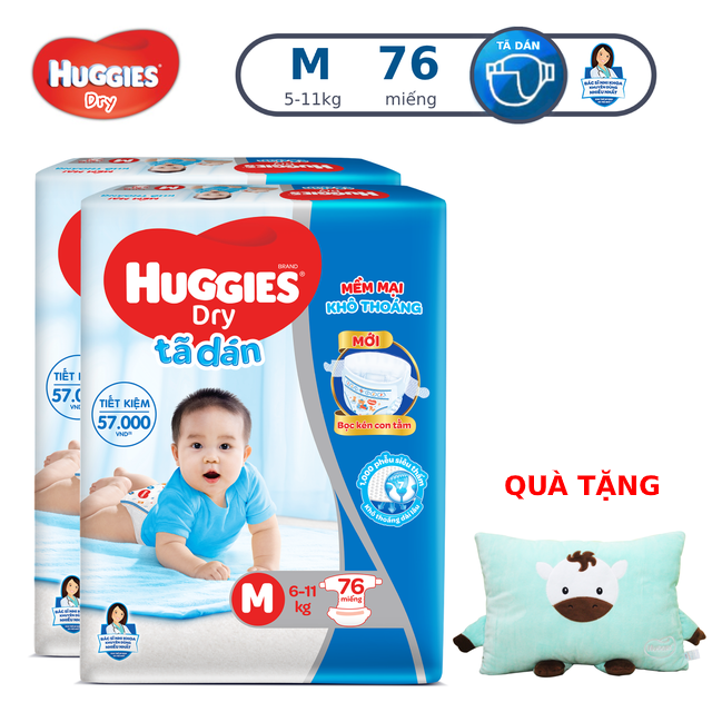 Combo 2 Tã dán Huggies Dry Super Jumbo M76/L68/XL62/XXL56