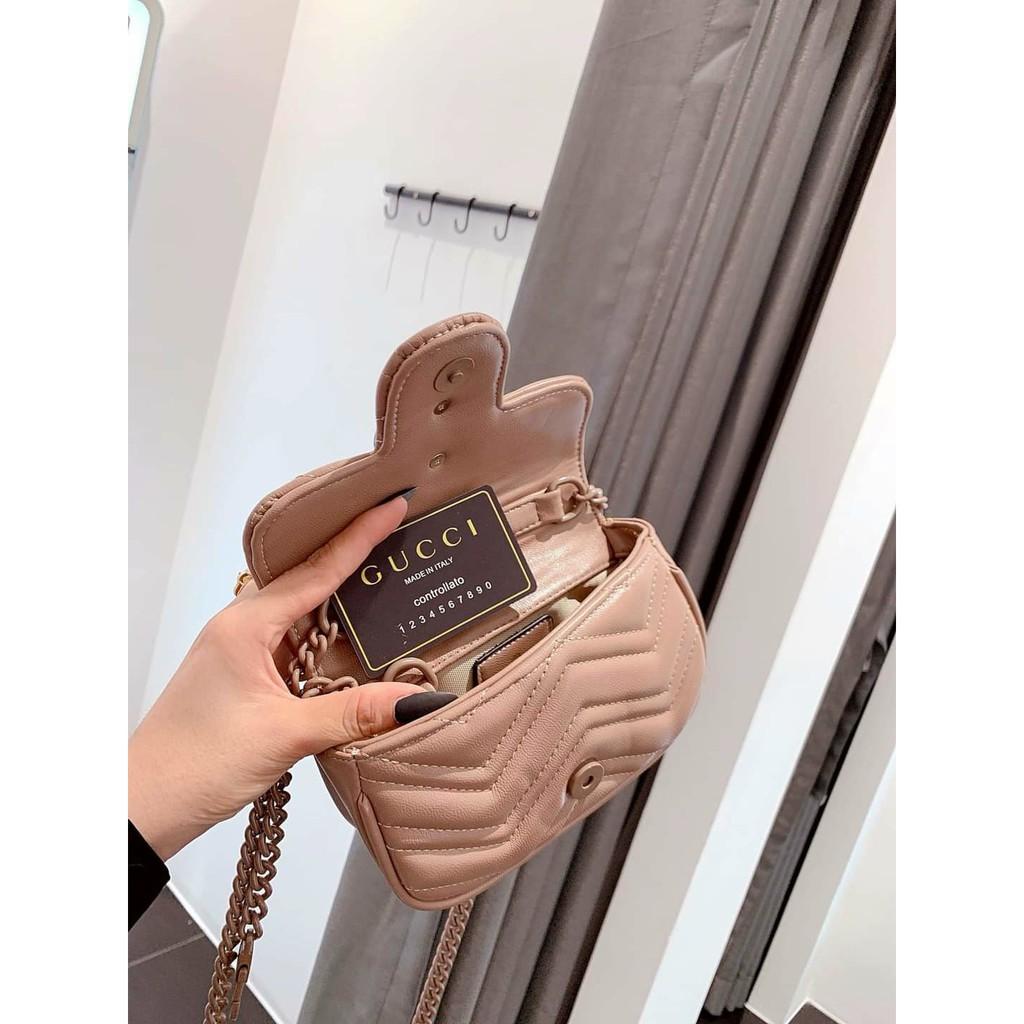 Túi mini dây xích full màu dễ thương túi mini ngọc trinh chần ô trái tim mặt sau hàng đẹp GGVSONGMAU + ảnh thật