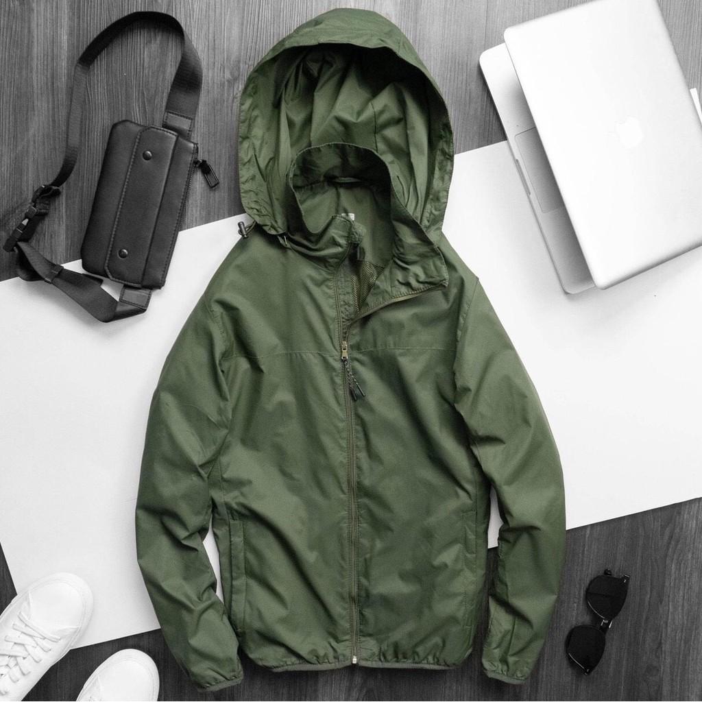 Áo khoác gió unisex nam nữ dáng thể thao chống nước, mũ có thể tháo rời mặc giữ ấm thu đông