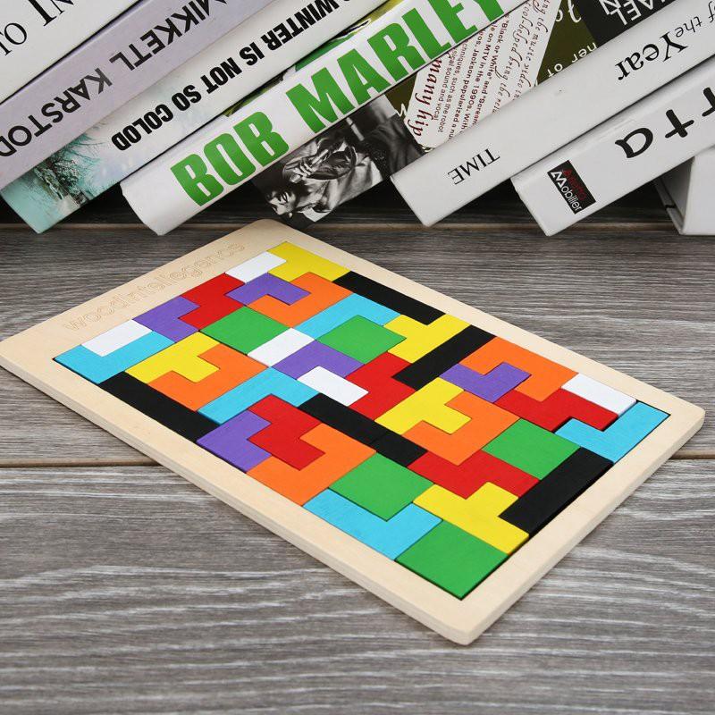 Đồ Chơi Gỗ Xếp Hình Giáo Dục Thông Minh Tetris Đầy Màu Sắc Sinh Động