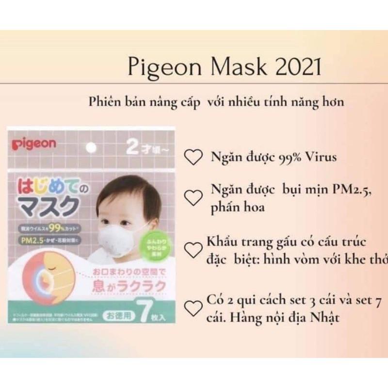 Khẩu Trang Gấu Pigeon set 3&7 Nhật Bản