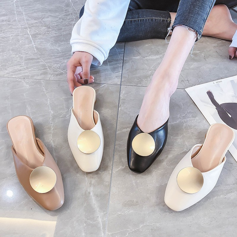 Grandma Baotou Half-slippers for Women Wearing New Square He