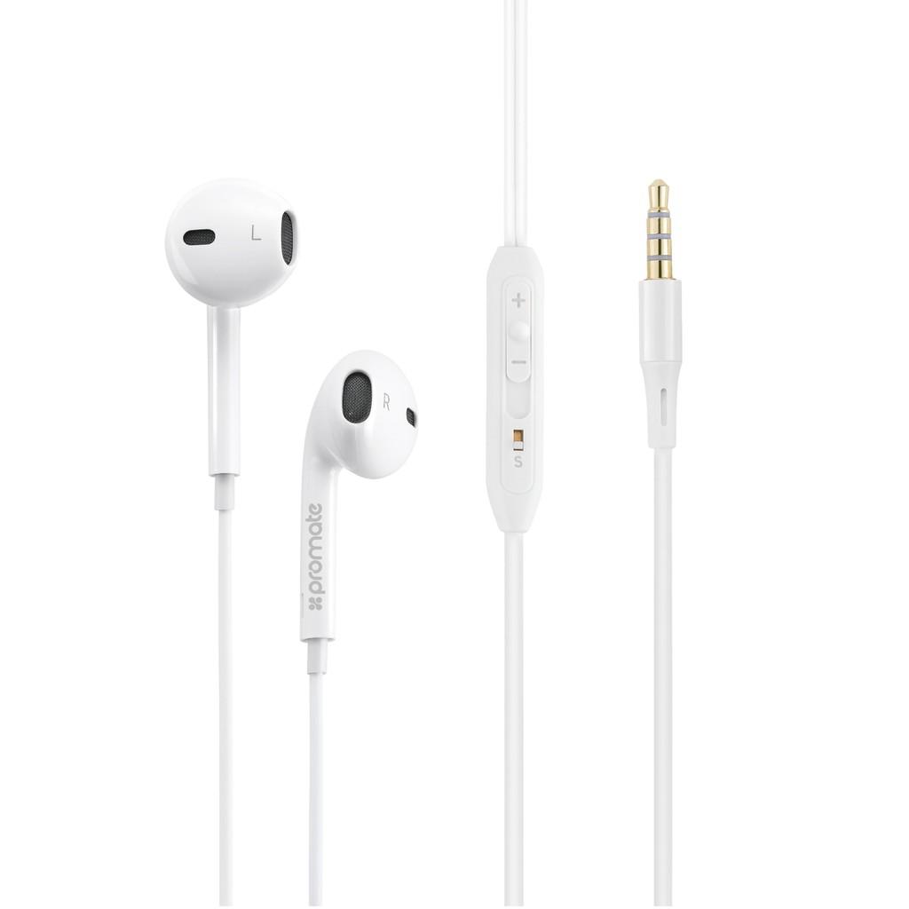 Tai nghe In-Ear Promate gearPod-iS2 nhỏ gọn kèm Mic (Trắng)