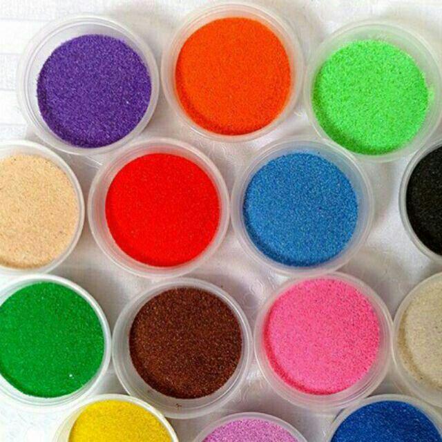 14 Hộp Cát màu tô tranh cát (mỗi hợp 100g) Cát màu trang trí tiểu cảnh . Hủ cát màu